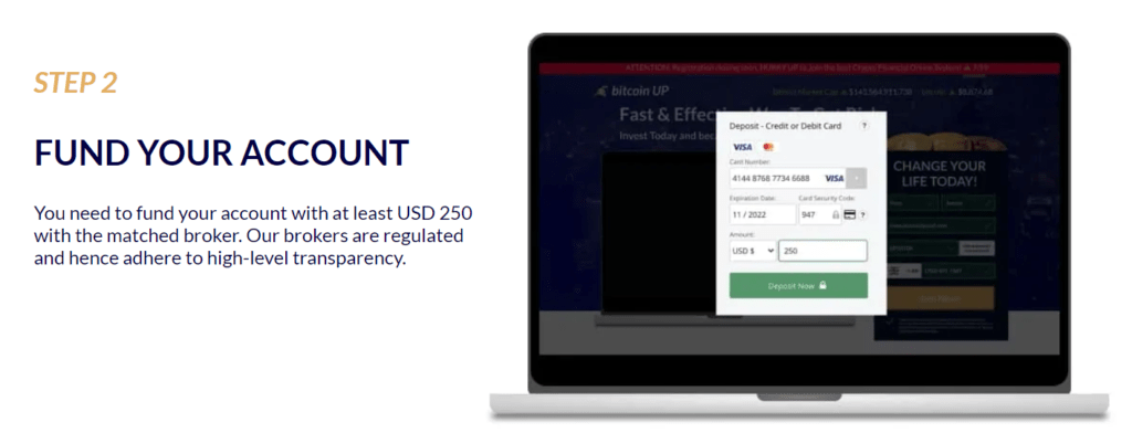 bitcoin up fund your account