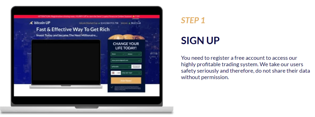 bitcoin up sign up